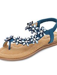 povoljno -Žene Cipele PU Ljeto Udobne cipele Sandale Ravna potpetica Crn / Plava / Badem