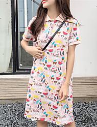 abordables -Mujer Camiseta Vestido Fruta Sobre la rodilla