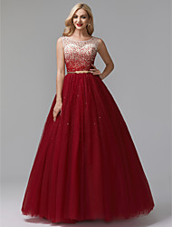 cheap -Ball Gown Jewel Neck Floor Length Tulle Sparkle & Shine Formal Evening Dress with Beading / Sequin by TS Couture®