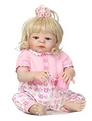 economico -NPKCOLLECTION Bambole Reborn Bambine 24 pollice Silicone per tutto il corpo / Silicone / Vinile - Occhi azzurri di impianto artificiale Per bambino Da ragazza Regalo
