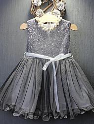 baratos -Bébé Para Meninas Activo / Doce Feriado / Para Noite Sólido Paetês Sem Manga Médio Fibra Sintética Vestido Preto 110