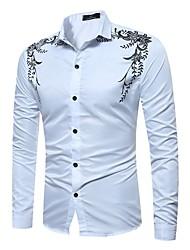Недорогие -Муж. С принтом Рубашка Классический Однотонный / Цветочный принт Черное и белое