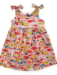 cheap -Kids Girls' Active Geometric Print Sleeveless Knee-length Dress / Cotton