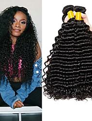 Недорогие -4 Связки Малазийские волосы Крупные кудри 8A Натуральные волосы Человека ткет Волосы Удлинитель Пучок волос 8-28 дюймовый Нейтральный Естественный цвет Ткет человеческих волос Машинное плетение