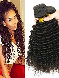 cheap -Indian Hair / Deep Wave Curly Human Hair Extensions 3 Bundles 8-28 inch Human Hair Weaves Machine Made Classic / Easy dressing / Best Quality Natural Black Human Hair Extensions Women's