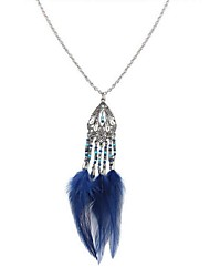cheap -Women's Long Pendant Necklace - Resin Feather Stylish, Vintage, Ethnic Red, Blue, Light Green 70 cm Necklace Jewelry 1pc For Daily, Date