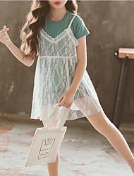 cheap -Kids Girls' Sweet / Street chic Going out Geometric Print Short Sleeve Knee-length Silk Dress / Cotton