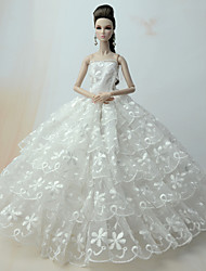 cheap -Wedding Dresses For Barbie Doll Lace Satin Dress For Girl's Doll Toy