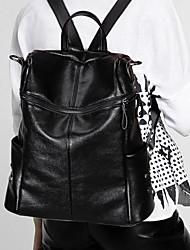 Недорогие -Жен. Мешки Кожа рюкзак Молнии Черный