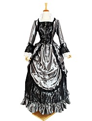 cheap -Gothic Lolita Costume Women's Outfits / Party Costume Black+Sliver Vintage Cosplay Flocked 3/4-Length Sleeve Puff Sleeve Halloween Costumes