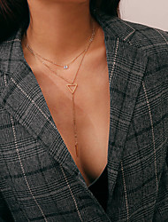 economico -Per donna A strati Collane con ciondolo / Collane Layered - Alla moda, Classico, Vintage Oro, Argento 35+10 cm Collana 1pc Per Compleanno, Quotidiano