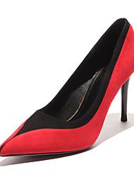 baratos -Mulheres Sapatos Camurça Primavera Verão Plataforma Básica Saltos Caminhada Salto Agulha Dedo Apontado Vermelho / Khaki