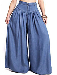 cheap -Women's Active Plus Size Cotton Wide Leg / Jeans Pants - Solid Colored Black & White, Tassel