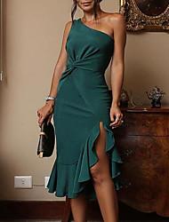 Недорогие -Жен. Секси Тонкие Оболочка Платье - Однотонный, Оборки На одно плечо До колена Белый