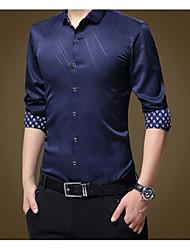 Недорогие -Муж. Большие размеры - Рубашка Хлопок Тонкие Деловые / Классический Однотонный / Полоски / Длинный рукав