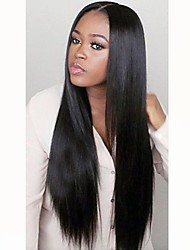 cheap -Remy Human Hair Full Lace Wig Peruvian Hair Straight Wig Layered Haircut 130% Natural Hairline / 100% Hand Tied Black Women's Long Human Hair Lace Wig