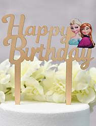 Недорогие -Украшения для торта Классика / Свадьба Аппликация Дерево / Бамбук День рождения с Двусторонняя выемка 1 pcs Пластмассовая коробка