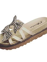 povoljno -Žene Cipele PU Ljeto Salonke s remenčićem Papuče i japanke Creepersice Mašnica Crn / Bež
