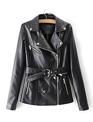cheap -Women's Leather Jacket - Solid Colored Shirt Collar
