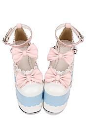 cheap -Lolita Shoes Sweet Lolita Dress Classic Lolita Dress Princess Lolita Wedge Heel Shoes Color Block 15 cm CM Blue For PU(Polyurethane) Halloween Costumes