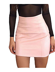 cheap -women's going out faux leather mini bodycon skirts - solid colored high waist