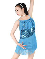 cheap -Latin Dance Dresses Women's Performance Elastic / Sequined / Lycra Tassel / Paillette Sleeveless Natural Hair Jewelry / Dress / Neckwear