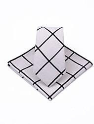 abordables -Unisex Corbata - Fiesta / Trabajo Cuadrícula Blanco y Negro / Negro y gris