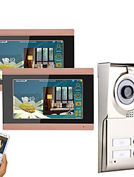 economico -MOUNTAINONE 3 Apartments Wifi Video Door Phone Senza filo / Cavo Fotografato / Registrazione / Multifamiliare campanello video 7 pollice
