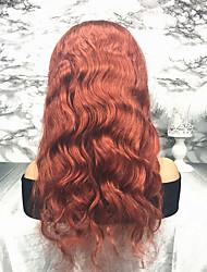Недорогие -Remy Лента спереди Парик Перуанские волосы / Естественные кудри Волнистый Парик 130% Природные волосы / С отбеленными узлами Жен. Длинные Парики из натуральных волос на кружевной основе