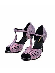 baratos -Mulheres Sapatos de Dança Latina Couro Ecológico Salto Salto Alto Magro Sapatos de Dança Roxo / Espetáculo / Ensaio / Prática