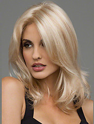 cheap -Synthetic Wig Wavy Blonde Synthetic Hair Heat Resistant / Middle Part Blonde Wig Women's Medium Length Blonde