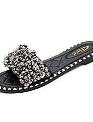 baratos -Mulheres Sapatos Couro Ecológico Verão Chanel Chinelos e flip-flops Sem Salto Preto / Prateado