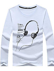 billige -Rund hals Herre - Ensfarvet T-shirt / Langærmet / Lang