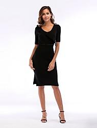 preiswerte -Damen Grundlegend / Anspruchsvoll Bodycon Kleid - Ausgehöhlt / Rüsche / Gespleisst, Solide Übers Knie