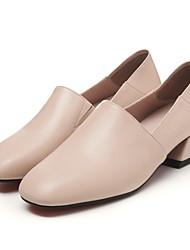 Недорогие -Жен. Обувь Кожа Весна / Лето Мокасины Мокасины и Свитер На толстом каблуке Квадратный носок Белый / Черный / Розовый