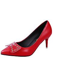 baratos -Mulheres Sapatos Couro Ecológico Primavera Verão Plataforma Básica Saltos Caminhada Salto Agulha Dedo Apontado Botão Branco / Preto /