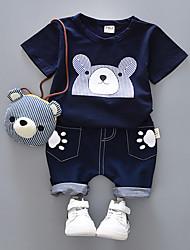 economico -Bambino (1-4 anni) Da ragazzo Nero e grigio Con stampe Manica corta Completo