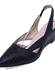お買い得  -女性用 靴 PUレザー 春夏 スリングバック サンダル ウエッジヒール ポインテッドトゥ ホワイト / ブラック / ダックレッド / パーティー