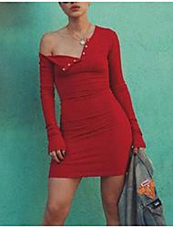 abordables -Mujer Básico Corte Bodycon Vestido Un Color Hasta la Rodilla