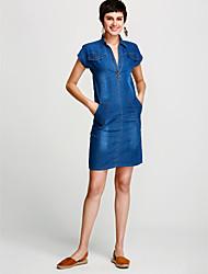 abordables -Femme Grandes Tailles Basique Coton Toile de jean Robe Couleur Pleine Col en V Au dessus du genou / Printemps