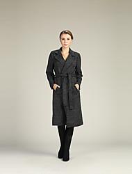 abordables -Femme Travail Manches Longues Mince Longue Cardigan - Couleur Pleine Col de Chemise / Taille haute / Automne / Hiver