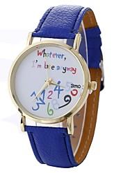 baratos -Xu™ Mulheres Relógio Elegante / Relógio de Pulso Chinês Criativo / Relógio Casual / Mostrador Grande PU Banda Fashion / Relógios com Palavras Preta / Branco / Azul / Um ano