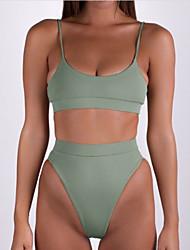 abordables -Femme Basique A Bretelles Bandeau Bikinis - Dos Nu, Couleur Pleine Tanga