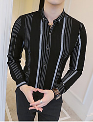 baratos -Homens Camisa Social Negócio Listrado