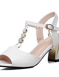 Недорогие -Жен. Обувь Лакированная кожа Лето С Т-образной перепонкой Сандалии На толстом каблуке Белый / Черный / Для вечеринки / ужина