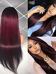 cheap -Remy Human Hair Lace Front Wig Brazilian Hair Straight Wig Middle Part 130% Women's Long Human Hair Lace Wig