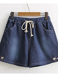 cheap -Women's Basic Cotton Jeans / Shorts Pants - Animal Embroidered / Summer / Holiday