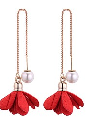 cheap -Women's Pearl Drop Earrings - Imitation Pearl Flower Bohemian, Sweet, Fashion Red / Pink / Wine For School / Going out