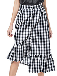 cheap -Women's Going out Trumpet / Mermaid Skirts - Plaid