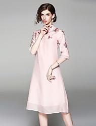 baratos -Mulheres Básico Evasê Vestido - Bordado, Floral Médio